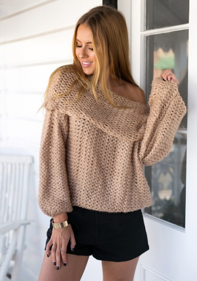Cowl Neck Sweater - Camel from Lookbook Store
