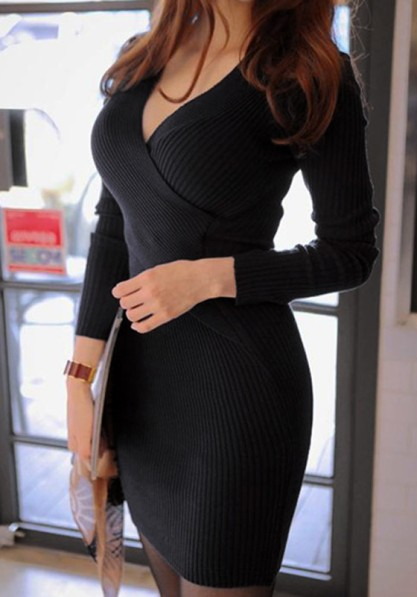 Long Sleeves Knit Dress - Black from Lookbook Store