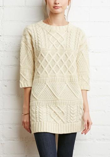 Crop Sleeves Splits Side Sweater - Beige from Lookbook Store
