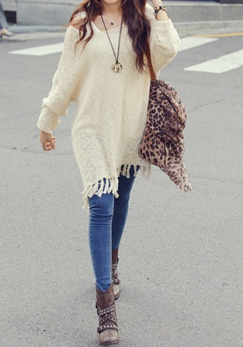 Fringe Knit Sweater - Apricot from Lookbook Store