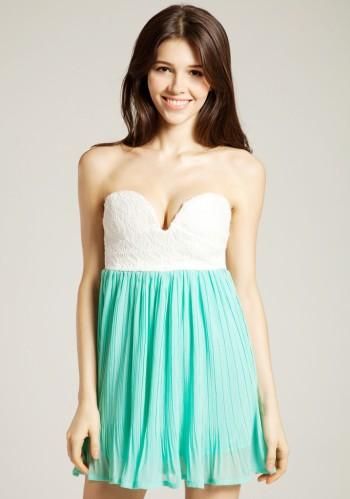 Ruffles Bodice Chiffon Dress - Mint