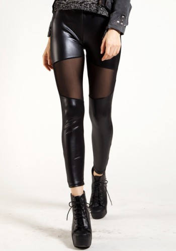 Mesh Panel Black Leggings from Lookbook Store