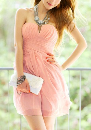Peach Strapless Dress from Lookbook Store