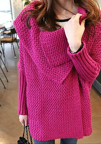 Batwing Sweater Coat - Plum from Lookbook Store