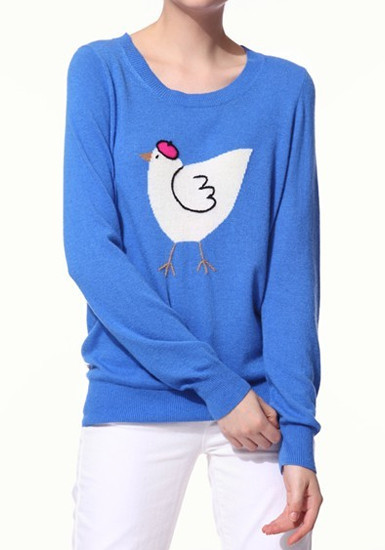Cartoon Chicken Print Knit Top - Blue from Lookbook Store