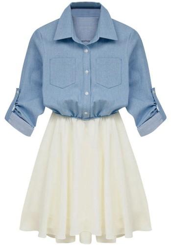 Denim andChiffon Dress from Lookbook Store
