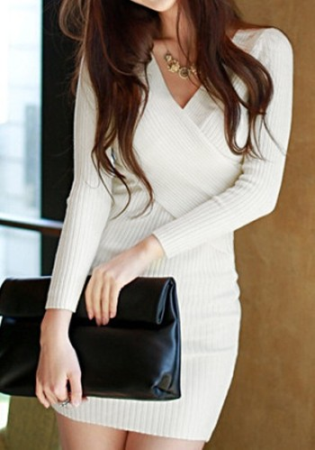Long Sleeves Knit Dress - White from Lookbook Store