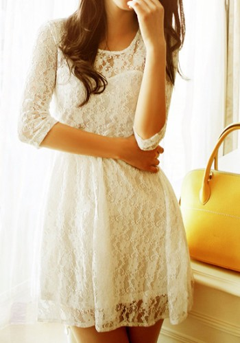 Mesh Heart Lace Dress - Apricot from Lookbook Store