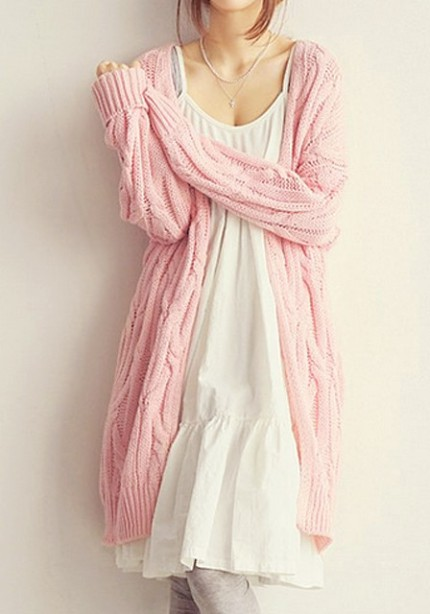 Pink Cable Knit Cardigan from Lookbook Store