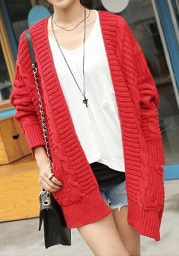 Red Oversized Cardigan from Lookbook Store
