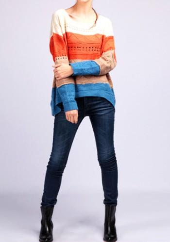 Striped Cutout Knitwear - Creamy Shoulder from Lookbook Store