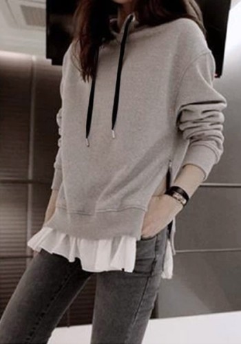 Grey Zipped Pullover Hoodie from Lookbook Store