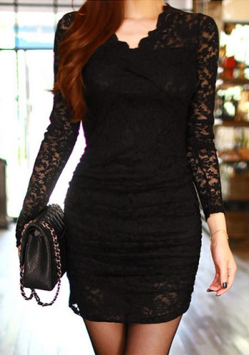 Little Black Lace Dress from Lookbook Store