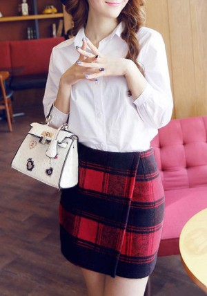 Plaid Short Wrap Skirt from Lookbook Store