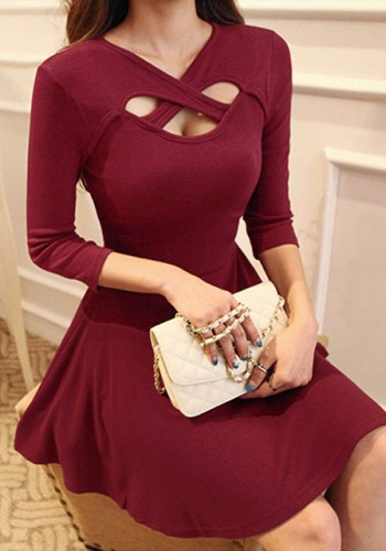 Red 3 Keyhole Dress from Lookbook Store