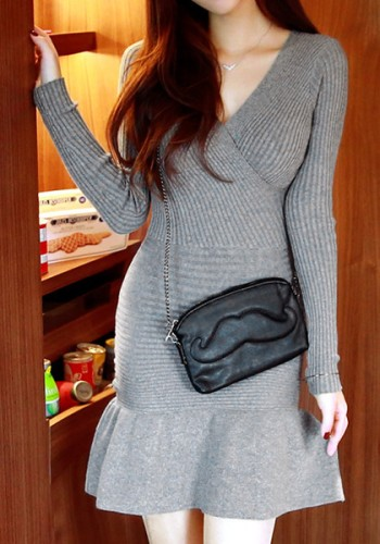 Ruffle Hem Knit Dress from Lookbook Store