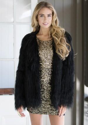Black Faux Fur Coat from Lookbook Store