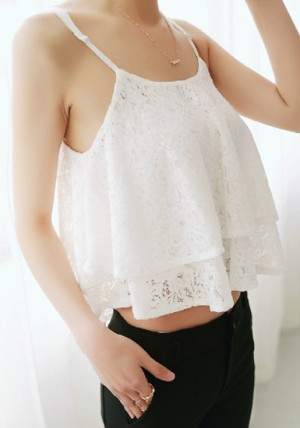 Double Layers Crop Top - White from Lookbook Store