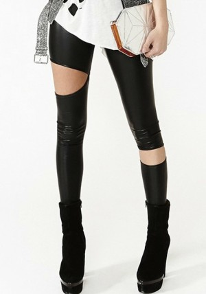 Faux Leather Cutout Leggings from Lookbook Store