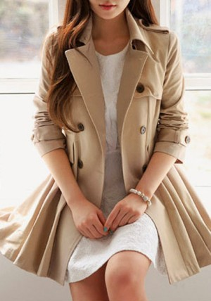 Flared Double-Breasted Trench Coat from Lookbook Store