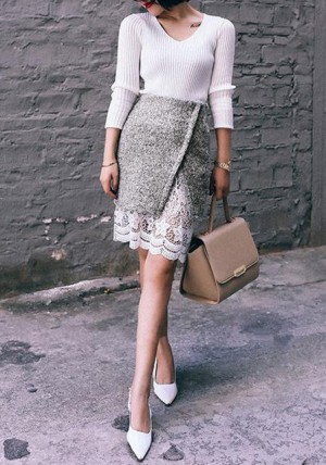 Lace Hem Pencil Skirt from Lookbook Store
