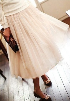Layered Mesh Skirt - Nude from Lookbook Store