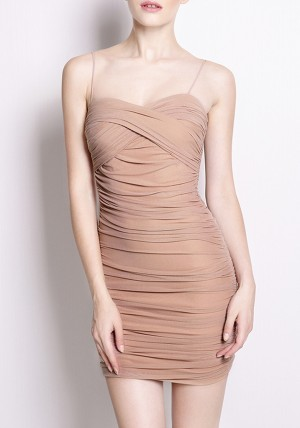 Ruched Bodycon Slip Dress from Lookbook Store