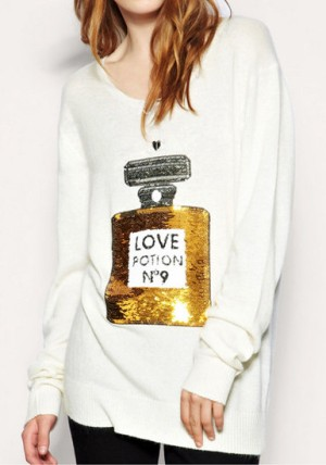 Sequins Perfume Sweater - White from Lookbook Store