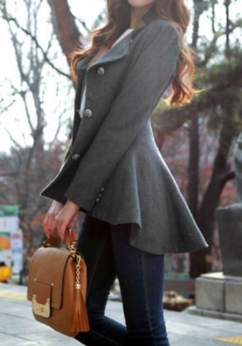 Asymmetric Fit-and-flare Blazer - Grey from Lookbook Store