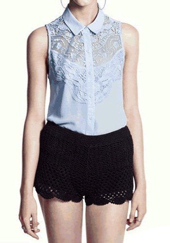 Blue Lace Tank Top from Lookbook Store