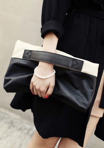 Contrast Folded Clutch - Black from Lookbook Store