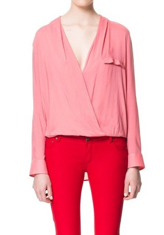 Pink Wrap-Style Blouse from Lookbook Store