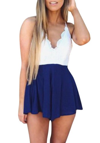 Blue & White Lace Romper from Lookbook Store
