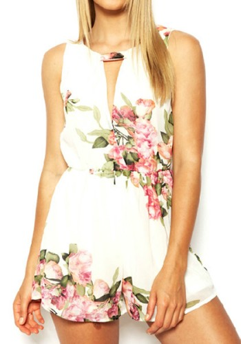 Keyhole Floral Romper - Beige from Lookbook Store