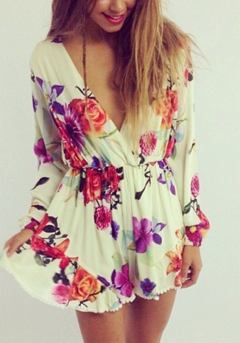Long-Sleeve Floral Romper from Lookbook Store