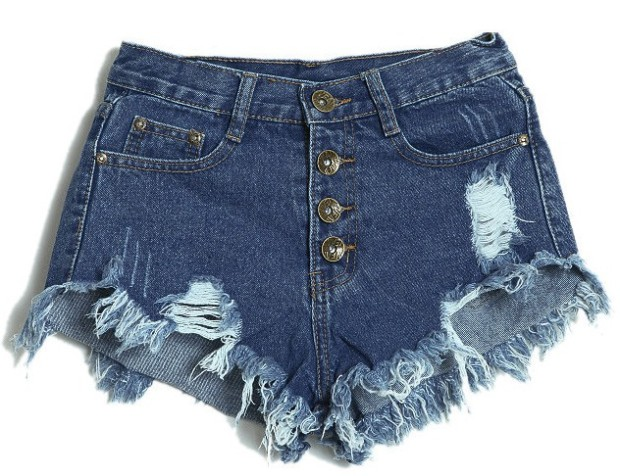 Dark Blue Denim Cutoffs from Lookbook Store