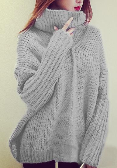 Light Grey Turtleneck Sweater from Lookbook Store