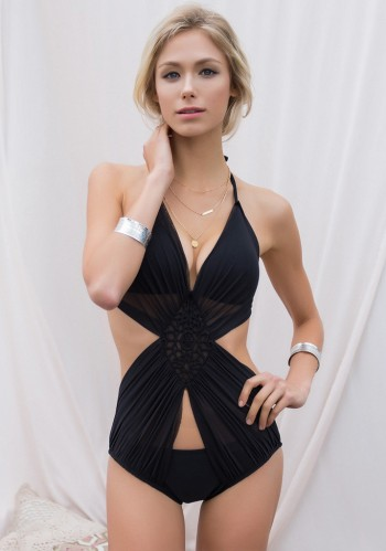 Ruched Mesh Halter Monokini from Lookboook Store