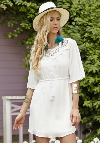 White Bell Sleeve Dress from Lookbook Store