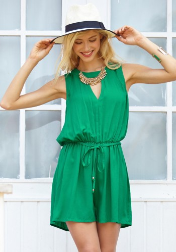 Green Keyhole Sleeveless Romper from Lookbook Store