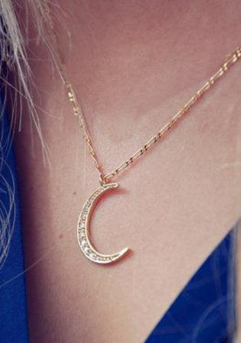 Gold Crescent Moon Necklace from Lookbook Store