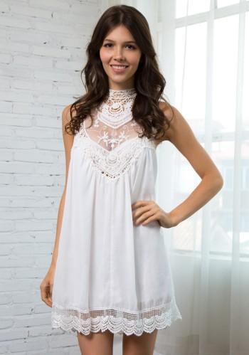 White Lace Chiffon Mini Dress from Lookbook Store
