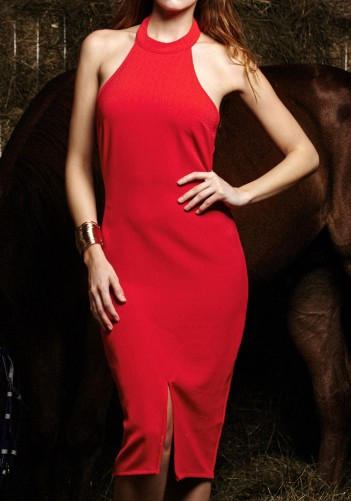 Red Halter Neck Dress from Lookbook Store