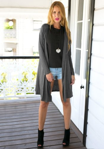 Collar Maxi Cardigan - Grey from Lookbook Store