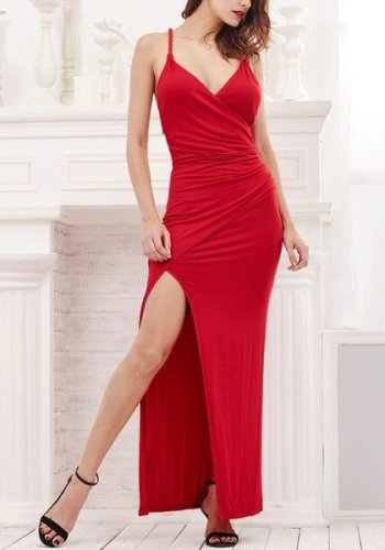 Red Side-Slit Evening Dress from Lookbook Store
