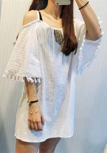 White Cold-Shoulder Tassel Shift Dress from Lookbook Store