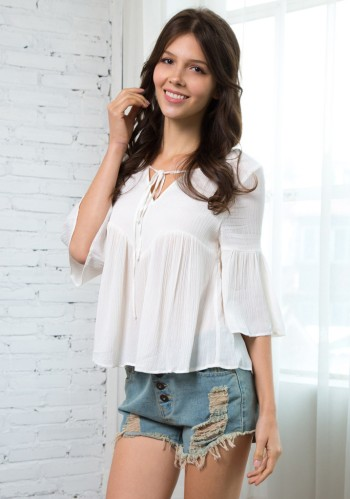 Self-tie Peasant Top from Lookbook Store