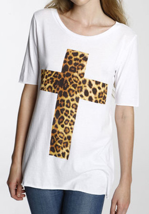 White Leopard-Cross Tee from Lookbook Store