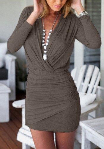 Coffee Wrap Bodycon Dress from Lookbook Store