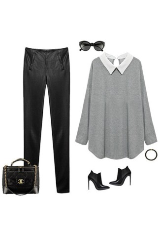 chiffon-collared grey jersey top